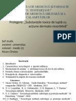 Toxicele de luptă cu acțiune  dermato-rezorbtivă, USMF