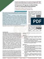 Effectiveness of Awareness Program on Knowledge Regarding Covid 19 among Nursing Students
