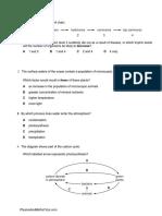 Organisms & their Environment (Multiple Choice) 2 QP