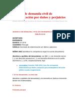 Modelo de demanda civil de indemnización por daños y perjuicios