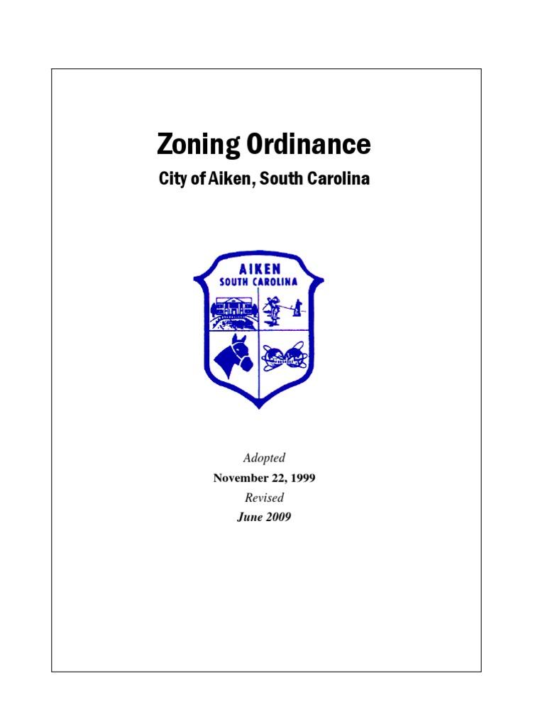 City Of Aiken Sc Zoning Ordinance Zoning Parking