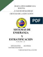 SISTEMA DE ENSEÑANZA Y ESTRATIFICACION SOCIAL (SOCIOLOGIA)