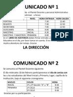 COMUNICADO Nº 1 PROFESORES