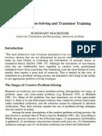 Mackenzie, Rosemary, Creative Problem-Solving and Translator Training