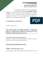 LEY QUE DECLARA DE INTERES NACIONAL Y NECESIDAD PUBLICA LA CREACION DEL DISTRITO DE PACHACUTEC