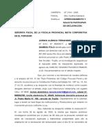 SOLICITO PARTICIPAR EN DILIGENCIA DE TESTIMONIAL