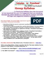 PlayGroup Syllabus