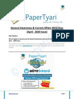 Papertyari Knockout GA-CA MCQ Keys April 2020