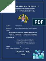 AUDITORIA DE GASTOS ADMINISTRATIVOS - VENTAS - FINANCIEROS - GRUPO 10