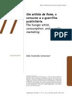 João Anzanello Carrascoza. Um artista da fome, o consumo e a guerrilha publicitária