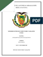 INFORME DE CONDUCTORES Y AISLANTES