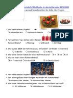 Adventsbräuche in Deutschland - Arbeitsblatt