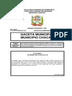 Tabla de tasas y Tarifas de Aseo Urbano Septiembre 2019 Municipio Chacao