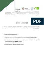 Indicazioni svolgimento prova selezione a.s. 2021-2022