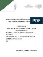 IDENTIFICACIÓN DE TIPOS DE FALLAS EN UN RODAMIENTO (DE LEÓN RODRÍGUEZ OSCAR EDUARDO 7C)