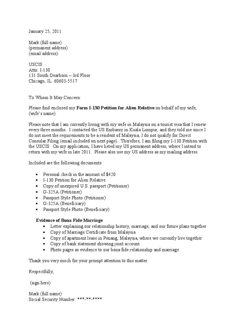 Sample cover letter for i 130 petition cr 1 visa aiddatafo Choice Image