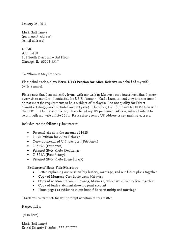 sample cover letter for i 130 petition cr 1 visa - I 130 Cover Letter