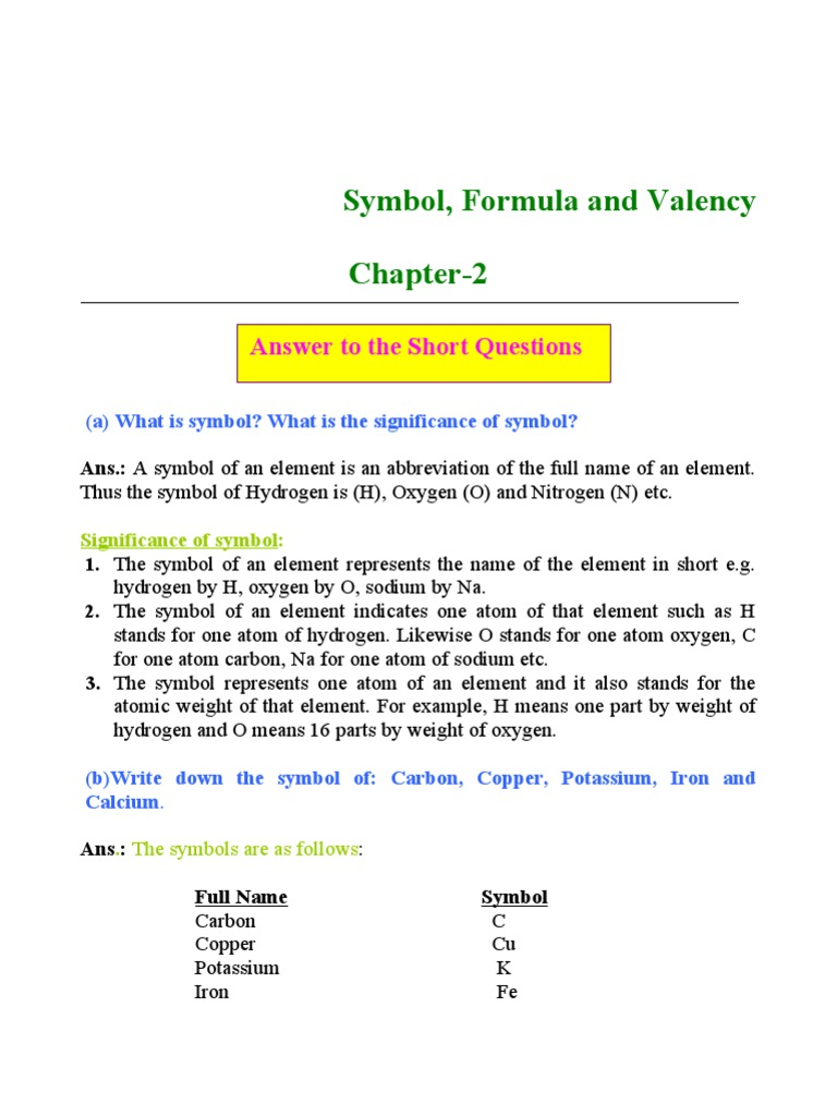 Symble formula valency valence chemistry chemical elements biocorpaavc Images