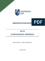 Plan Guía Módulo de Planificación Del Aprendizaje. Did 101