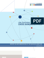 """BUSINESSEUROPE """"Unleashing cross-border services"""" - report on implementation of the services directive"""