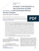 Influence of School heads' Leadership Styles on Students' Academic Performance in Public Secondary Schools in Nyamagana District, Mwanza, Tanzania