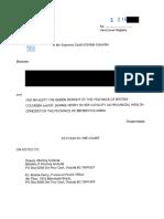 Contestation judiciaire devant la Cour suprême de la Colombie-Britannique (7 janvier 2021)