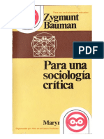 Bauman Zygmunt - Para Una Sociologia Critica