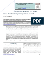 Investment Risk, Information Disclosure, and Market trust—Based on trust game experiment research