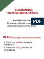 LES ECHANGES TRANSMEMBRANAIRES