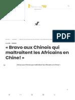 « Bravo aux Chinois qui maltraitent les Africains en Chine! »