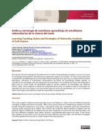 Estilos y Estrategias de Enseñanza Aprendizaje de Estudiantes Universitarios de La Ciencia Del Suelo