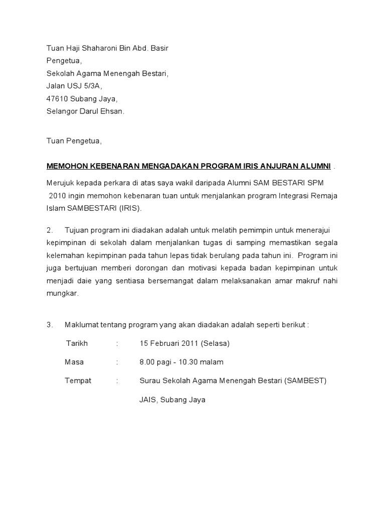 Surat Memohon Kebenaran Mengadakan Program