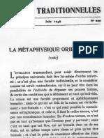 La métaphysique orientale1