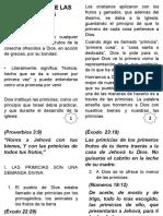 EL PRINCIPIO DE LAS PRIMICIAS