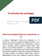 O conceito de sociologia