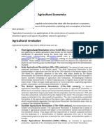 Agricultural Economics & Revolution & Importance