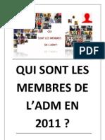 Qui Sont Les Membres de l'ADM en 2011 ? (Brouillons)