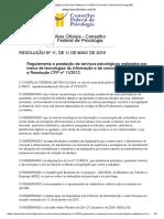 Resolução do Exercício Profissional 11 2018 do Conselho Federal de Psicologia BR