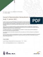 20210112-Communiqué de presse - Conseil d'Administration Extraordinaire de la SLN le 11 01 2021