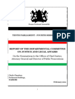 The Parliamentary Legal Affairs Committee  Report on judicial appointments