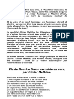 Vie de Maurice Druon racontée, en vers, par Olivier Mathieu