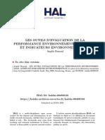 outils d'évaluation de la performance environnementale