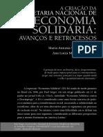 A Criação Da Secretaria Nacional de ECOSOL - Avanços e Retrocessos