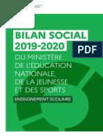Bilan social du ministère de l'Éducation nationale, de la Jeunesse et des Sports 2019-2020 - Enseignement scolaire