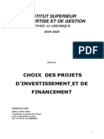 CHOIX DES PROJETS INVESTISSEMENT FINANCEMENT