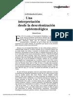 """Dussel, E. (2017). """"A 500 años de la Revolución de Lutero.Una interpretación desde la descolonización epistemológica"""""""