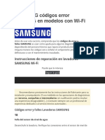 SAMSUNG códigos error lavadoras en modelos con Wi
