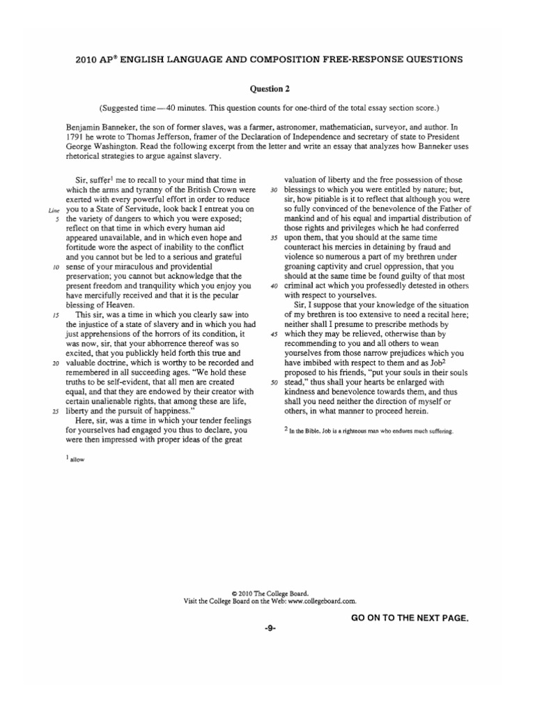 ap language and composition sample essays