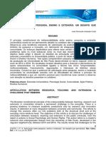 Articulação pesquisa, ensino e extensão