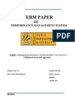 Managing performance in Intermediate Care Services – 	                       A Balanced Scorecard Approach